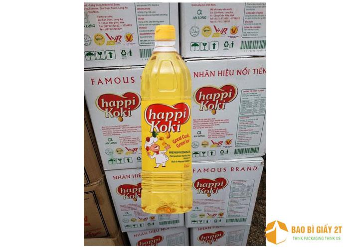 Nhãn hiệu Happi Koki nổi bật với tông màu đỏ trên nền trắng
